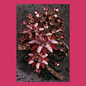 A Vintage Pink w/Rhinestones Floral Brooch